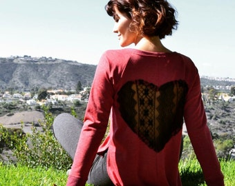 Give My Heart Back Sweater in Ruby