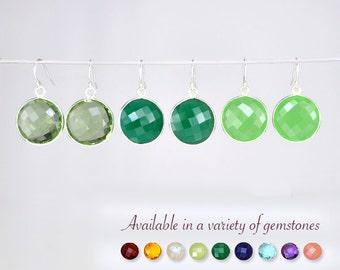 Gemstone earrings, Green Amethyst earrings, Green Onyx earrings, Green Chalcedony earrings, silver round earrings, Statement Earrings gift