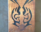 Vintage Hawaiian Tiki Faces Carved Wooden Wall Plaque
