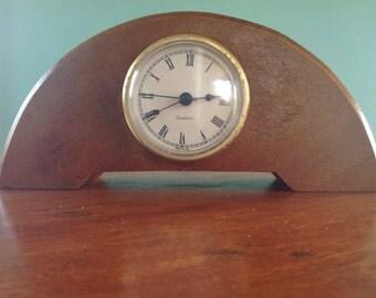 Vintage Hawaiian Koa Wood Rainbow Mini Mantle Clock
