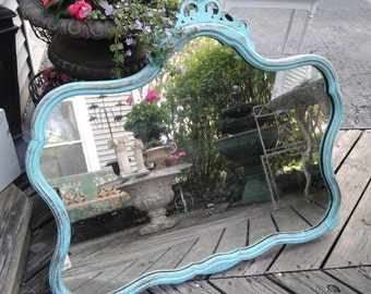 Large vintage shabby chic turquoise  mirror