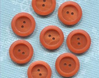 Set of 8 Old Orange Plastic ( 11/16 in) Buttons-(AFM82)