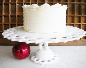 Milk Glass Cake Stand,Westmoreland Doric Open Lace/Vintage Wedding Cake Stand/Pedestal Cake Stand 12 Inch/Serving Stand/Special Occassion