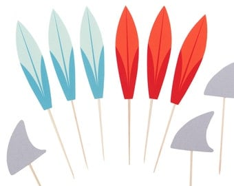 Surfboard Cupcake Toppers - Surfing Cupcake Toppers - Beach Party Cupcake Toppers - Surfer Cupcake Toppers - Aqua Orange Surfboard