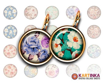 16mm & 14mm Printable Images FLORAL PATTERNS Digital Download for Earrings, Cufflinks, Bracelets, Rings, Pendants, Bottle Caps, Jewerly, DIY