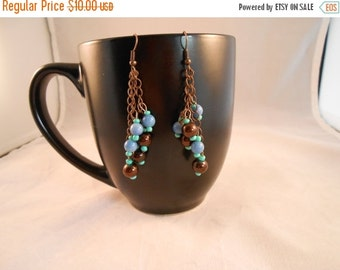 ON SALE Copper and turquoise beaded dangle earrings,bead and chain earrings,beaded dangle earrings