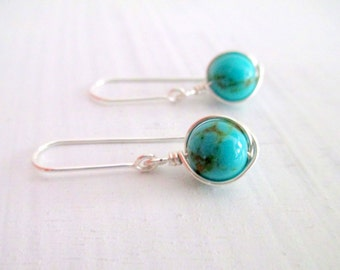 turquoise earrings silver earrings wire wrapped dangle earrings, turquoise jewelry gold filled available