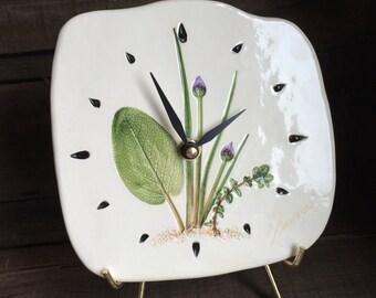 Herb Clock, Kitchen Clock, Herb Garden Clock, Garden herbs Pottery Clock, rustic country kitcken clock, Herb Desk Clock