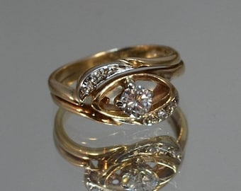 DEADsy LAST GASP SALE Great Gatsby Antique Engagement Ring // White + Yellow Gold Engagement Ring // Art Nouveau Halo Diamond Ring