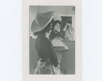 Vintage Snapshot Photo: Girl in Sombrero; Photographer Reflection in Mirror, c1950s (68488)