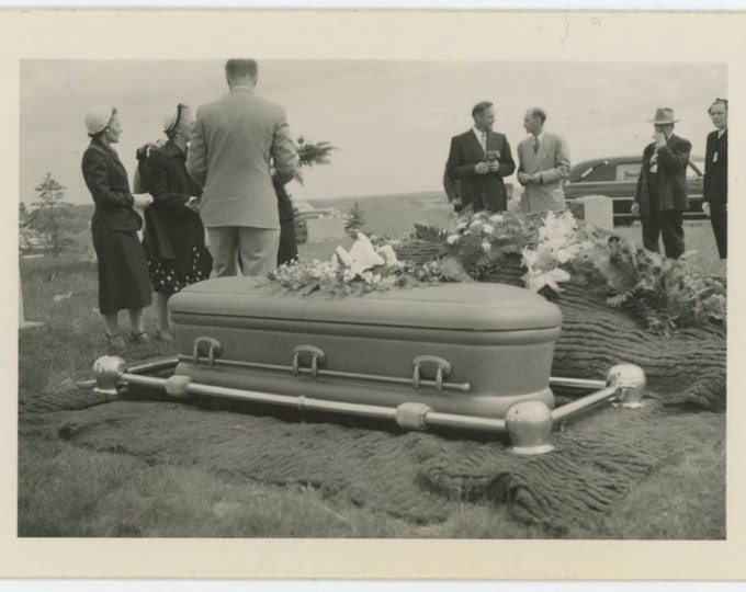 "At the cemetery after most of the people had gone."" c1950s Vintage Snapshot Photo (66476)"