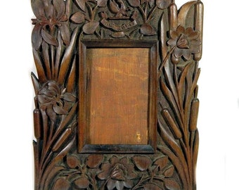 19th Century Antique Art Nouveau Carved Wooden Picture Frame Water Lilies and Cattails Crest and Motto