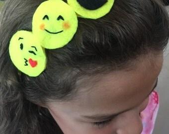 3 Emoji headband, hand stitched