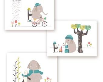 "Cute kids print, Set of 3 , Elephant  Nursery Art,  Penguin nursery  art, Dani, animal friends, set of 3,  Modern Nursery, Kids Art, 5x7"""