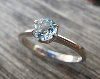 SALE Lovely Blue Topaz Rings- Topaz Rings- Topaz Stackable Rings- December Birthstone Rings-Solitaire Rings- Silver Stone Rings- Blue Stone