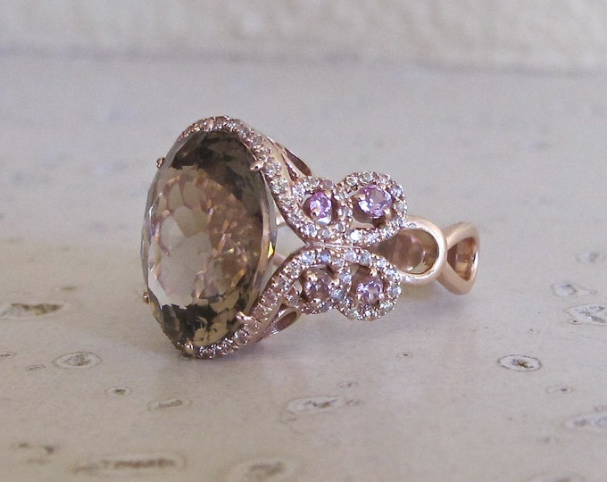 Rose Gold Engagement Ring- Unique Engagement Ring- Filigree Engagement Ring- Rose Gold Statement Ring- Artisan OOAK Ring- Smoky Quartz Ring