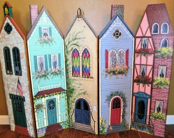 "Vintage Hand Made Victorian Village Fireplace Cover, Wall Art, Head Board, 57"" wide by 36"" tall Original design signed & dated 1993"