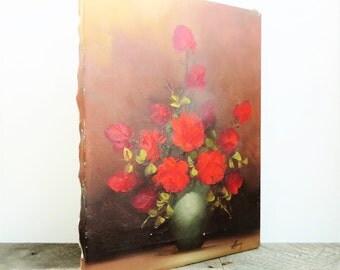 Vintage Oil Painting - 12x16 - Elegant Red Roses - Flea Market Chic - Modern Shab