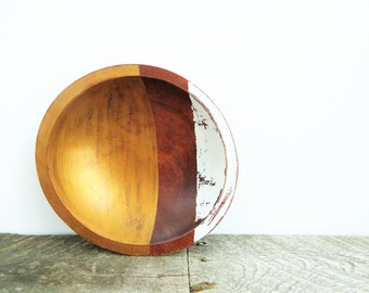 Gold and White Bowl - Rustic Modern Decor - Handpainted - Key Bowl