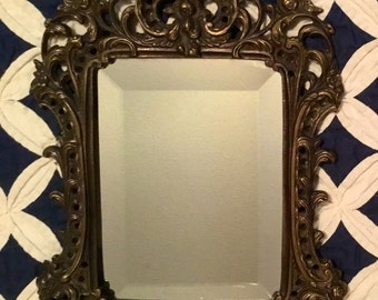 Vintage 1970s HEAVY Scrolled Hollywood Regency, Shabby Chic Mirrored Frame with Beautiful Beveled Mirror Wall Hanging