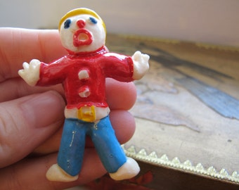 SNL Mr. Bill Iconic Figure of Little Action/ Pin or Brooch Design/ Resin Hand Painted Pop Icon Mister Bill of Saturday Night Live 1970's 80s