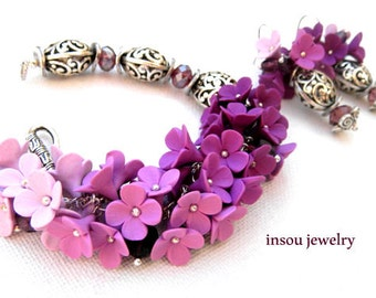 Violet Jewelry Set Ombre Jewelry Flower Jewelry Bracelet Earrings Romantic Jewelry Floral Jewelry Wedding Gift Statement Gift For Her Floral