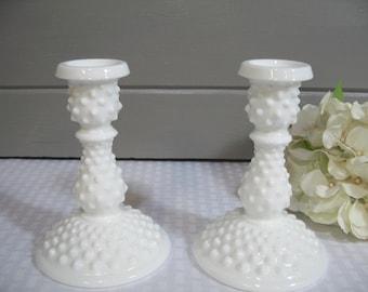 Hobnail Milk Glass Candle Holder, Fenton Milk Glass Candle Holders, Wedding Milk Glass, Wedding Table