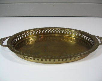 Vintage Brass Tray, Reticulated Serving Tray, Brass Tray with Handles