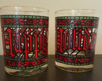 Vintage Houze Happy Holidays Christmas Glasses, Drinkware, Poinsettia, Stained Glass, Barware, Set of 2 Glasses, Christmastime, Holidays