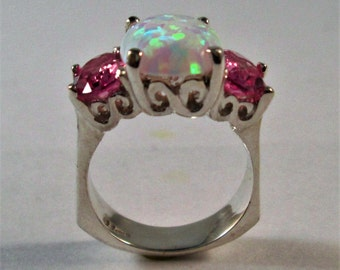 Sterling Silver Opal And Pink Tourmaline Ring