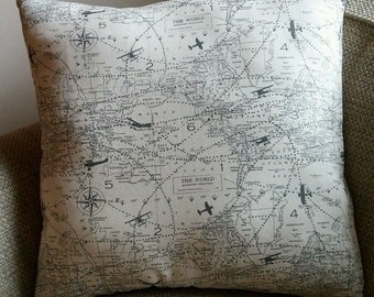 Natural & Grey Airplane World Map Print Pillow Cover