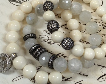 Superior BONE beads,Callibrated White Ox bone beads, 8mm, full strand, perfectly round, for bracelet or necklace, 48-50 beads per strand