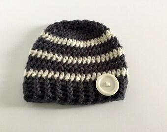 Baby Boy Hat, Gray Striped Hat, Crochet Beanie, Baby Hat, Button Hat, Newborn Photo Prop, Baby boy hat, Infant Hat, Summer Hat, Winter Hat