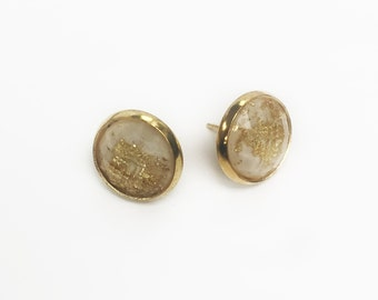 gold foil stone studs//clear