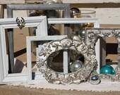 Set Of Picture Frames - Picture Frame Set - Shabby Chic Decor Frames - Wedding