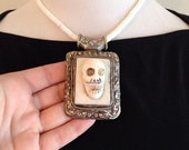 Tribal Boho Carved Bone Skull Necklace Dark Boho