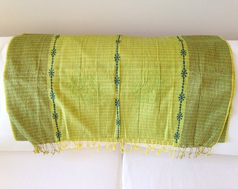 Lovely Lime Green Tribal Scarf Hippie Boho Wrap Shawl