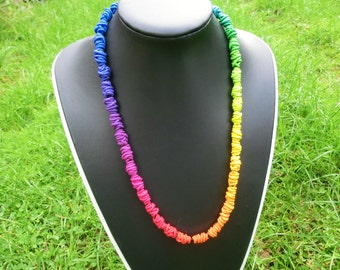 Long rainbow necklace/ polymer clay wire beads in rainbow colors on elastic rubber band/ continuous gradual transition/ bright clear colours