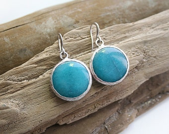 Matte Silver Plated Blue Jade Round Earrings
