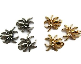 Spider Charm Spider Pendant Antique Silver Tone Charm Gold Tone Charm Halloween Charms Craft Supplies Jewelry Findings (3)