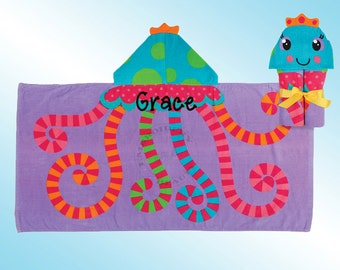 Hooded Beach Towel - Personalized and Embroidered - JELLYFISH