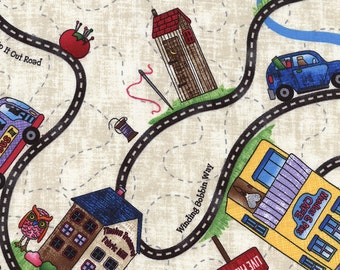 Timeless Treasures 2016 Row By Row Home Sweet Home Road Trip Map By Debra Gabel 100% Cotton Quilting Crafting