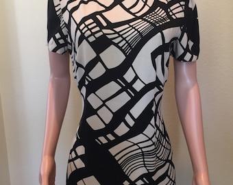 Beige and Black Geometric Print Sheath Dress