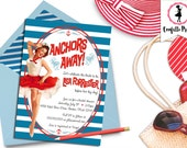 Retro Beach Bridal Shower Invitation - ANCHORS AWAY Printable