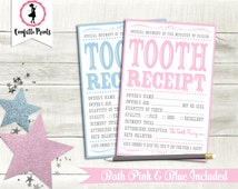 Tooth Fairy TOOTH RECEIPT | Tooth Fairy Letter | Tooth Fairy Certificate | Tooth Fairy Note | Tooth Fairy Gift | Printable Instant Download