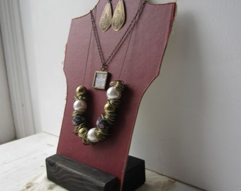 One Necklace Bust Red / Cream Reversible Recycled Book Necklace Jewelry Display - Ready to Ship