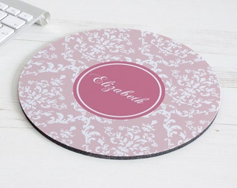 Damask Print Mouse Mat – personalised mouse pad – round mousepad – desk decor - personalized graduation gift - coworker gift - p09