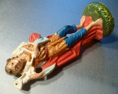 Vintage Paper Mache Replacement Nativity Figurine Holy Family Hand Painted Italy