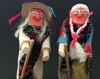 Vintage Set of 2 Dolls - Hand Carved Wood Figures - Mexican Folk Art