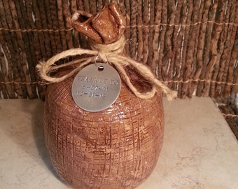 Custom - Stoneware Pottery Cremation Urn - Wheel Thrown Clay - Keepsake Cremains Jar For Family Member or Pet Ashes - BURLAP SACK
